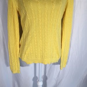 LOFT Sweaters - Ann Taylor Loft Yellow V Neck Cable Knit Sweater🦖